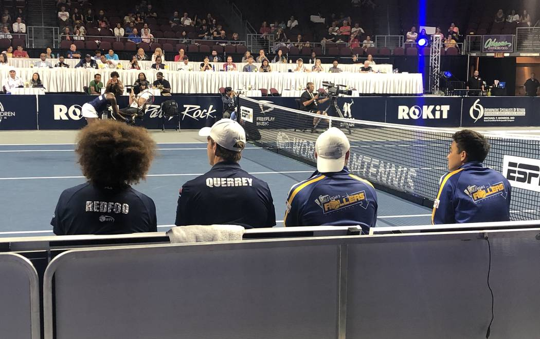 Redfoo is shown on the bencgh at the Vegas Rollers-New York Empire match at Orleans Arena on Tu ...