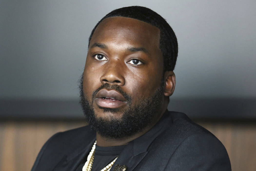 In this Tuesday, July 23, 2019 photo, Meek Mill makes an announcement of the launch of Dream Ch ...
