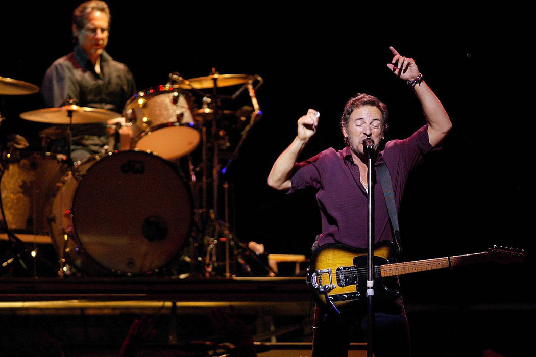 Bruce Springsteen sings Sunday, August 18, 2002 at the Thomas and Mack Center on the UNLV campu ...