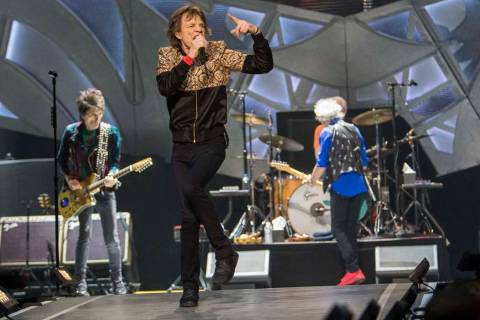The Rolling Stones perform during their ZIP CODE tour at the T-Mobile Arena in Las Vegas on Sat ...