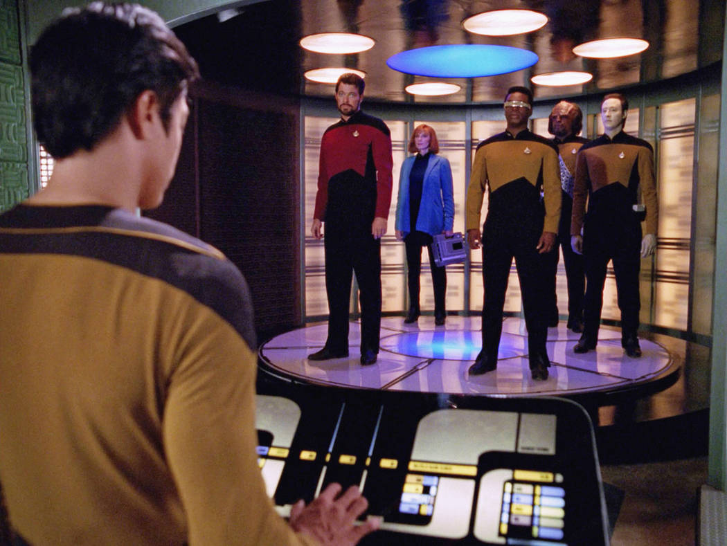 Pictured left to right: Jonathan Frakes, Gates McFadden, LeVar Burton, Michael Dorn and Brent S ...