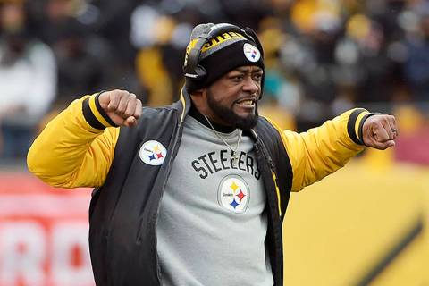 Pittsburgh Steelers head coach Mike Tomlin reacts on the sideline during the first half of an A ...