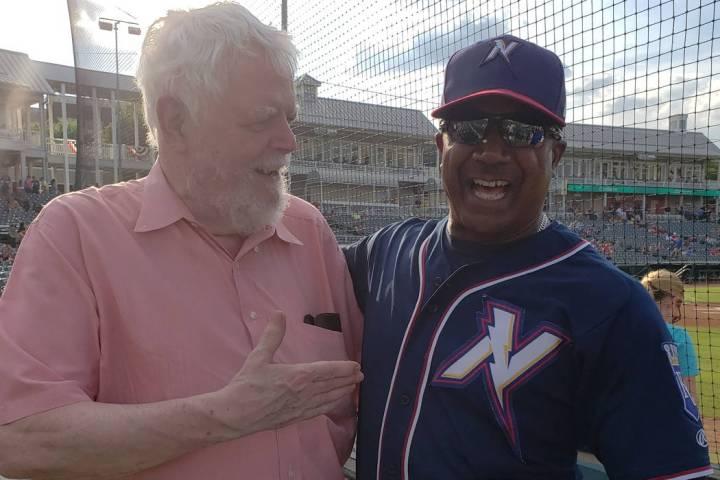 SCA Promotions founder Bob Hamman, left, meets Northwest Arkansas bench coach Nelson Liriano, w ...
