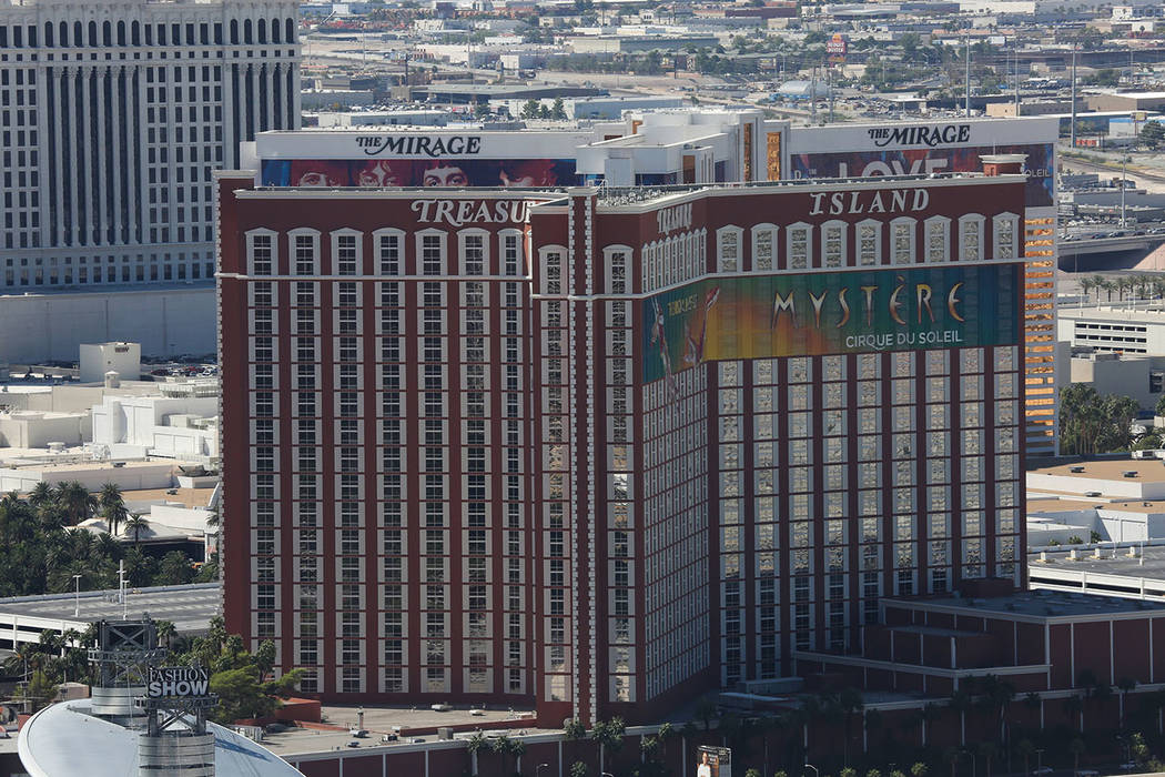 The Mirage and Treasure Island casino-hotels in Las Vegas are seen on Monday, Sept. 26, 2016. B ...