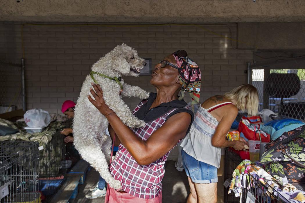 Brenda Shelton holds her dog Alvin at the Courtyard Homeless Resource Center in Las Vegas, Wedn ...