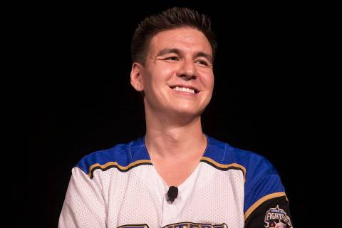 """Jeopardy!"" champion James Holzhauer listens to a question from the audience during a semin ..."