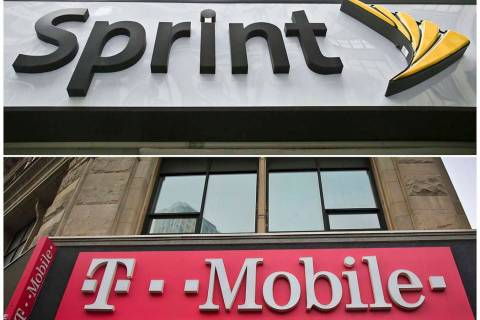 A combination of April 30, 2018, file photos shows signage for a Sprint store in New York's Her ...