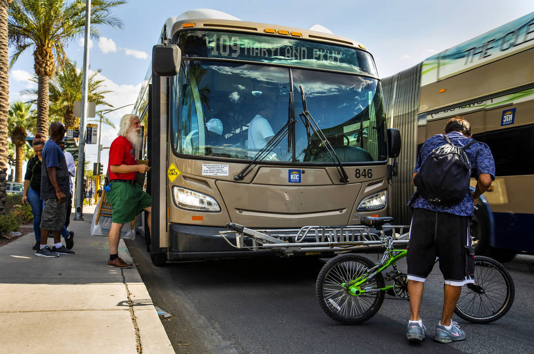 Passengers board an RTC Las Vegas 109 bus makes its way along South Maryland Parkway north of E ...