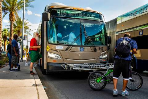 Passengers board an RTC Las Vegas 109 bus as it makes its way along South Maryland Parkway nort ...