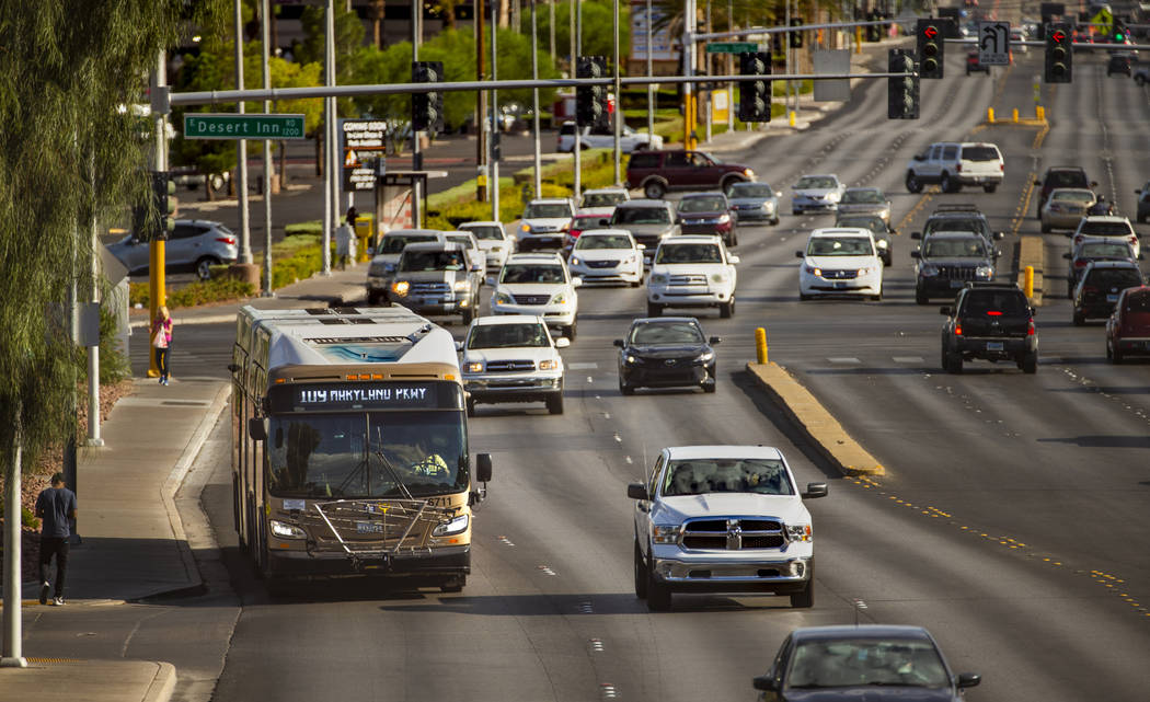 An RTC Las Vegas 109 bus moves along South Maryland Parkway past East Desert Inn Road on Saturd ...