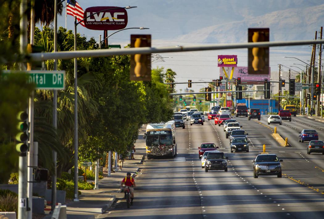 An RTC Las Vegas 109 bus moves along South Maryland Parkway heading towards East Desert Inn Roa ...