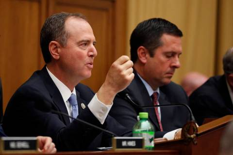 House Intelligence Committee Chairman Adam Schiff, D-Calif., questions former special counsel R ...