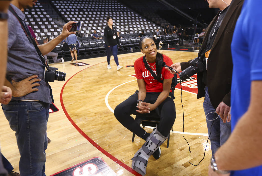 Las Vegas Aces' A'ja Wilson is interviewed ahead of the WNBA All-Star Game and skills challenge ...