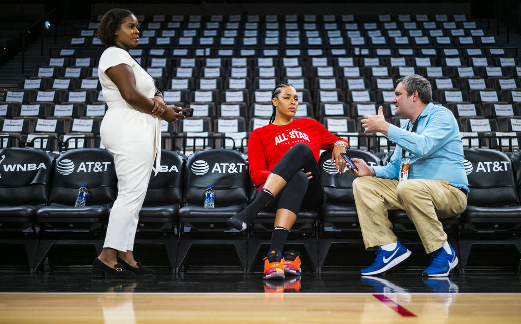 Las Vegas Aces' Liz Cambage is interviewed before practicing ahead of the WNBA All-Star Game an ...