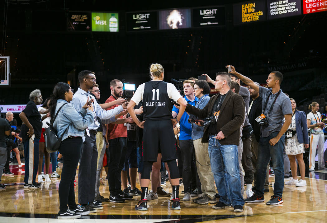 Washington Mystics' Elena Delle Donne (11) is interviewed ahead of the WNBA All-Star Game and s ...
