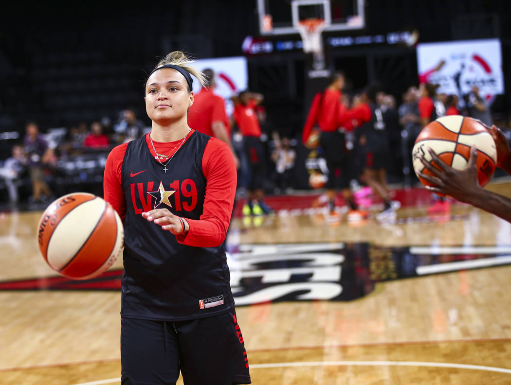 Las Vegas Aces' Kayla McBride looks to shoot during practice ahead of the WNBA All-Star Game an ...