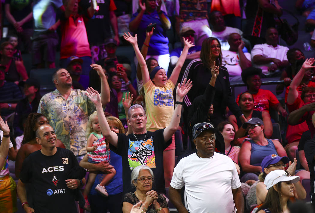 Basketball fans cheer during the WNBA All-Star skills challenges at the Mandalay Bay Events Cen ...