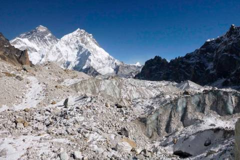 This 2014 photo provided by Joshua Maurer shows the Changri Nup Glacier in Nepal, much of it co ...
