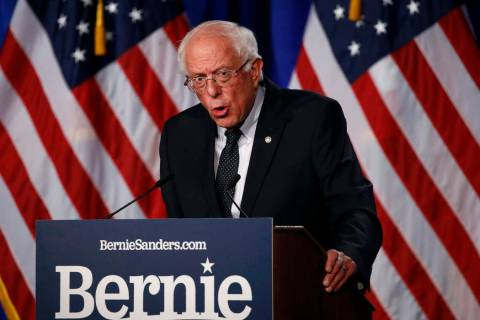 "Democratic presidential candidate, Sen. Bernie Sanders, I-Vt., gives a speech on his ""Medi ..."