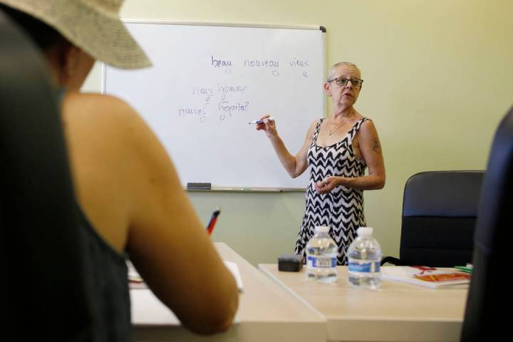 Instructor Catherine Rozenek teaches an intermediate French class at the Alliance Francaise de ...
