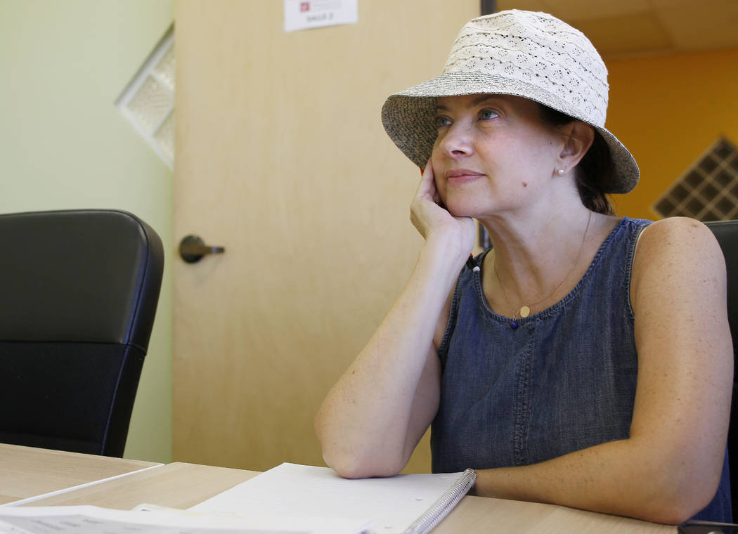 Jennifer Hoffman partakes in an intermediate French class at the Alliance Francaise de Las Vega ...