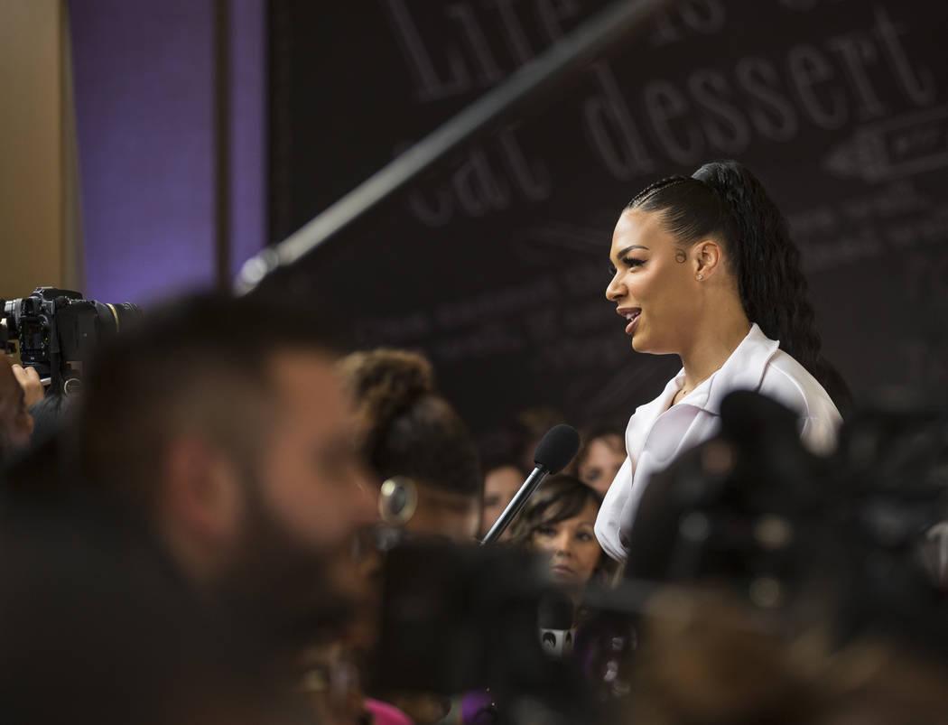 Las Vegas Aces center Liz Cambage talks to the media on the WNBA Orange Carpet outside Della's ...