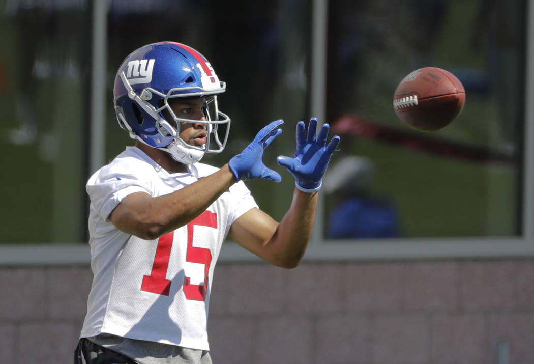In a Tuesday, June 4, 2019 file photo, New York Giants' Golden Tate runs a drill during an NFL ...