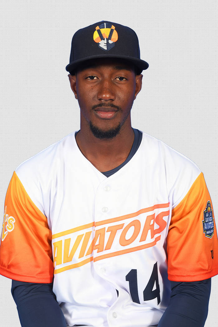 Las Vegas Aviators shortstop Jorge Mateo (14) pictured on media day at Las Vegas Ballpark on Ap ...