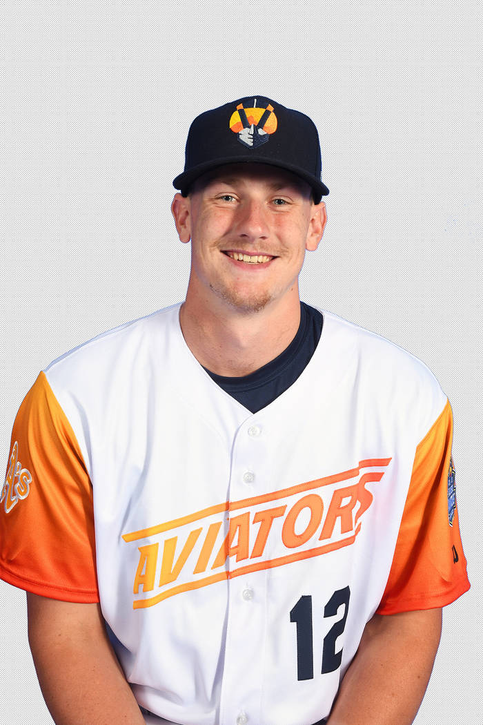 Las Vegas Aviators catcher Sean Murphy (12) pictured on media day at Las Vegas Ballpark on Apri ...
