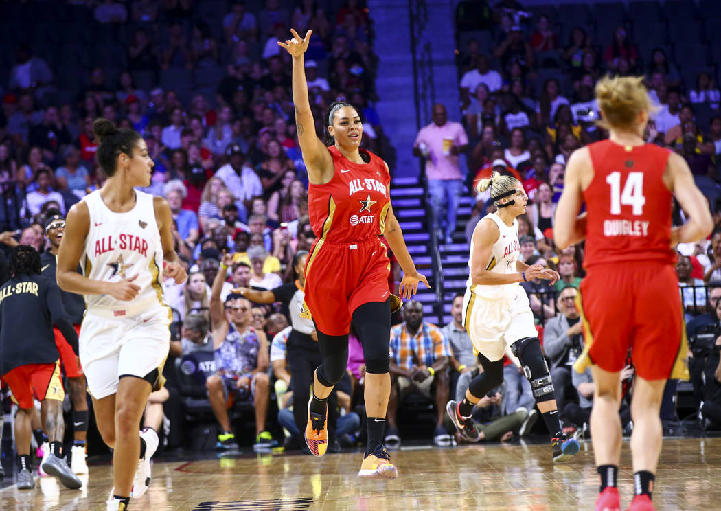 Las Vegas Aces' Liz Cambage celebrates after scoring during the first half of the WNBA All-Star ...