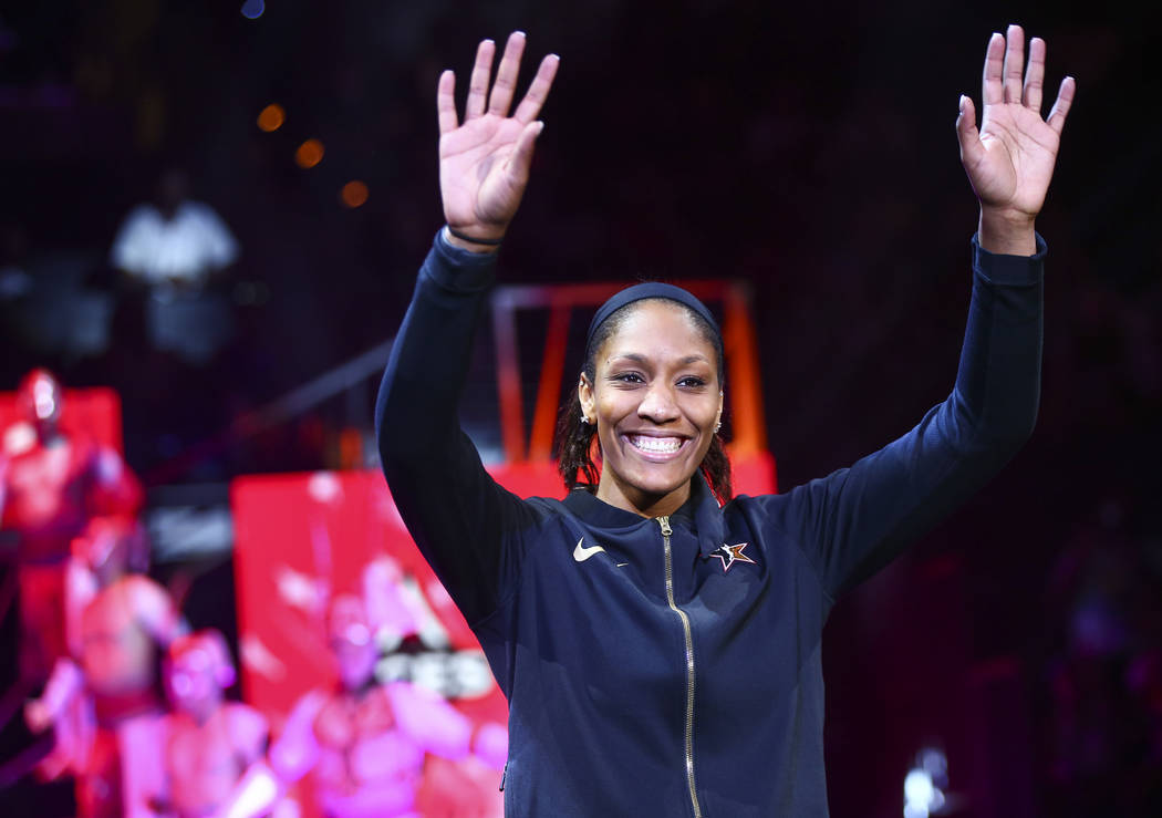 Las Vegas Aces' A'ja Wilson is introduced before the start of the WNBA All-Star Game at the Man ...