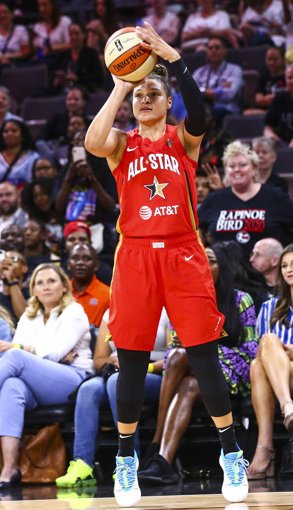 Las Vegas Aces' Kayla McBride shoots during the second half of the WNBA All-Star Game at the Ma ...