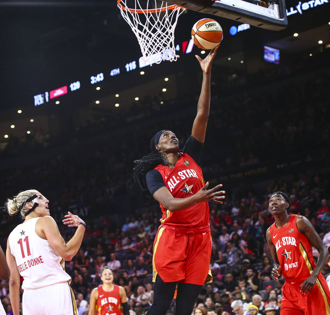 Minnesota Lynx's Sylvia Fowles goes to the basket during the second half of the WNBA All-Star G ...