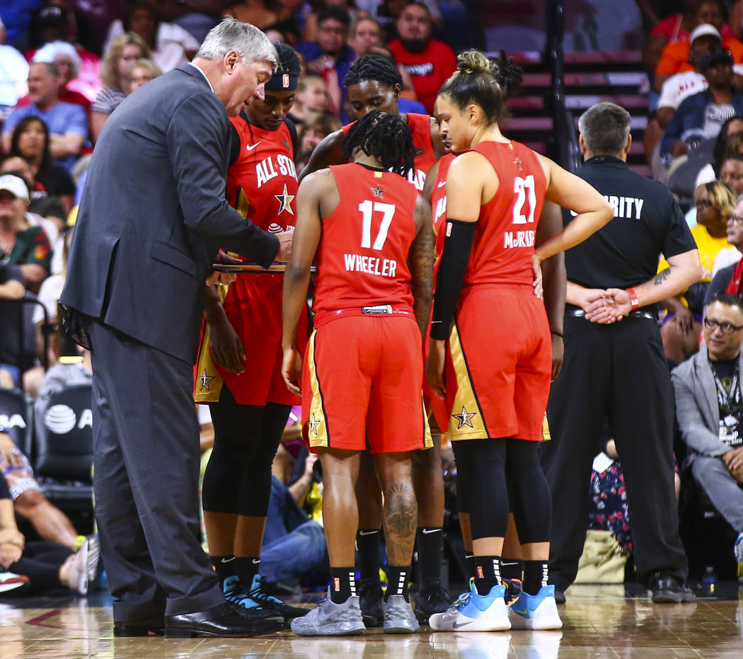Coach Bill Laimbeer talks with his team during the second half of the WNBA All-Star Game at the ...