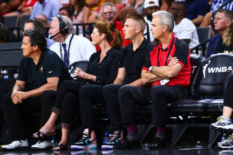 Mandalay Bay President Chuck Bowling (red shirt) watches the second half of the WNBA All-Star G ...