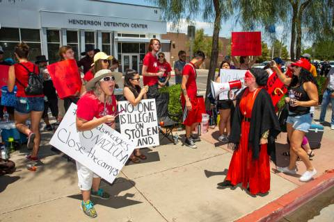 Chants are yelled as Red Rage Protest for Kids in Cages supported by Haven Craft conducts an an ...