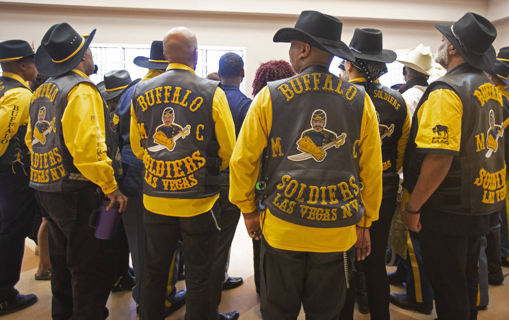 Buffalo Soldiers Motorcycle Club members wait to take a group picture during Buffalo Soldiers D ...