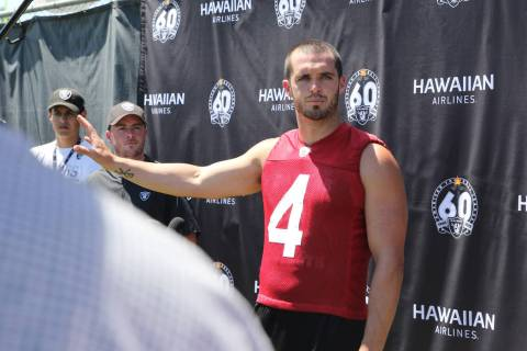 Oakland Raiders quarterback Derek Carr (4) speaks to media during the NFL team's training camp ...