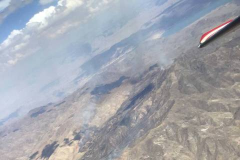 The Bonelli Peak Fire is burning just east of the Lake Mead National Recreation Area (Lake Mead ...