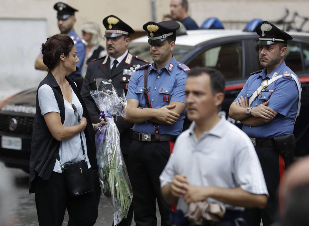 People arrive to pay respect in the church where Carabinieri officer Mario Cerciello Rega was l ...