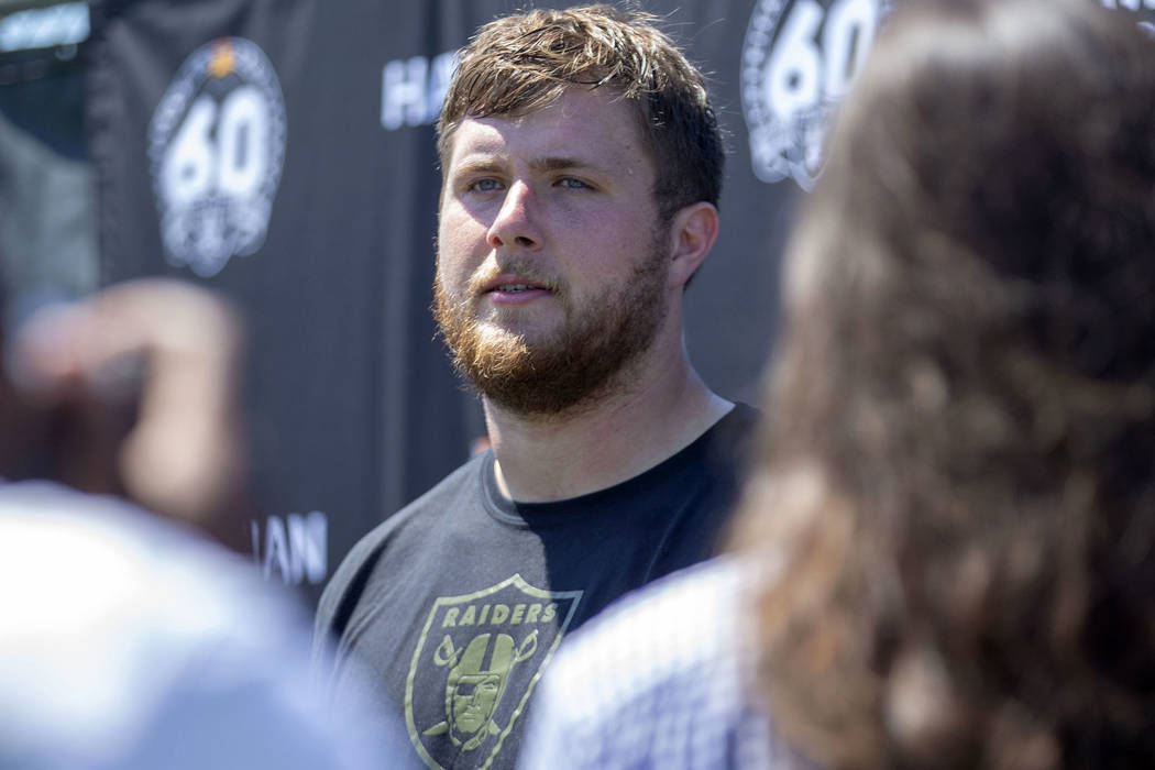 Oakland Raiders offensive tackle Kolton Miller takes questions during the NFL team's training c ...
