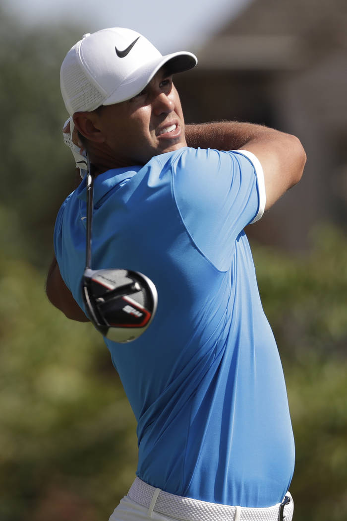 Brooks Koepka hits off the 16th tee during the final round of the World Golf Championships-FedE ...