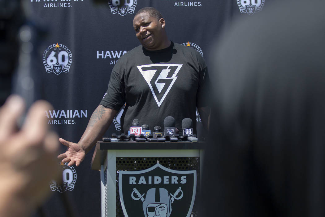 Oakland Raiders offensive tackle Trent Brown (77) answers questions during the NFL team's train ...