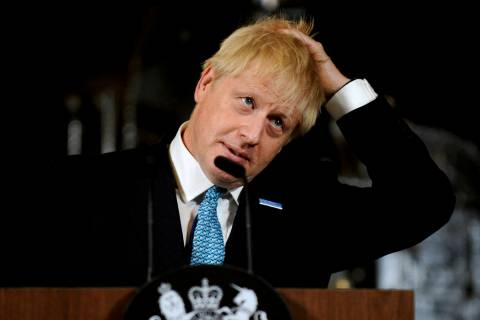 Britain's Prime Minister Boris Johnson during a speech on domestic priorities at the Science an ...