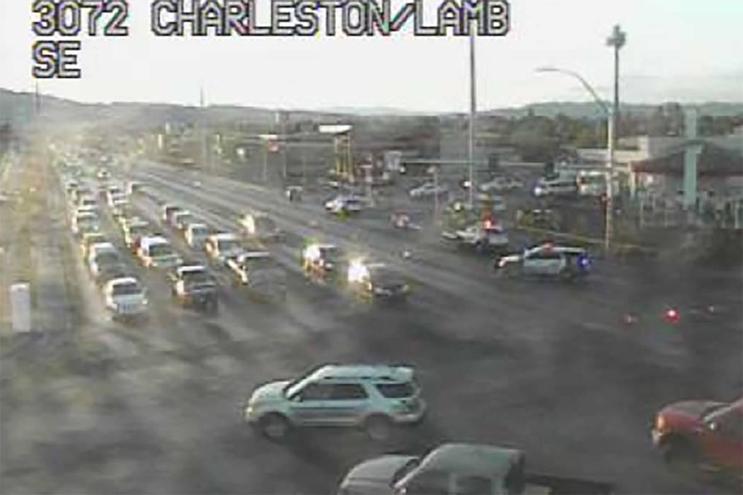 A Las Vegas Metro officer was involved in a crash at Charleston and Lamb boulevards, Monday, Ju ...