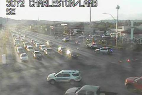 A Las Vegas Metro officer was involved in a crash at Charleston and Lamb boulevards, Monday, Ju ...