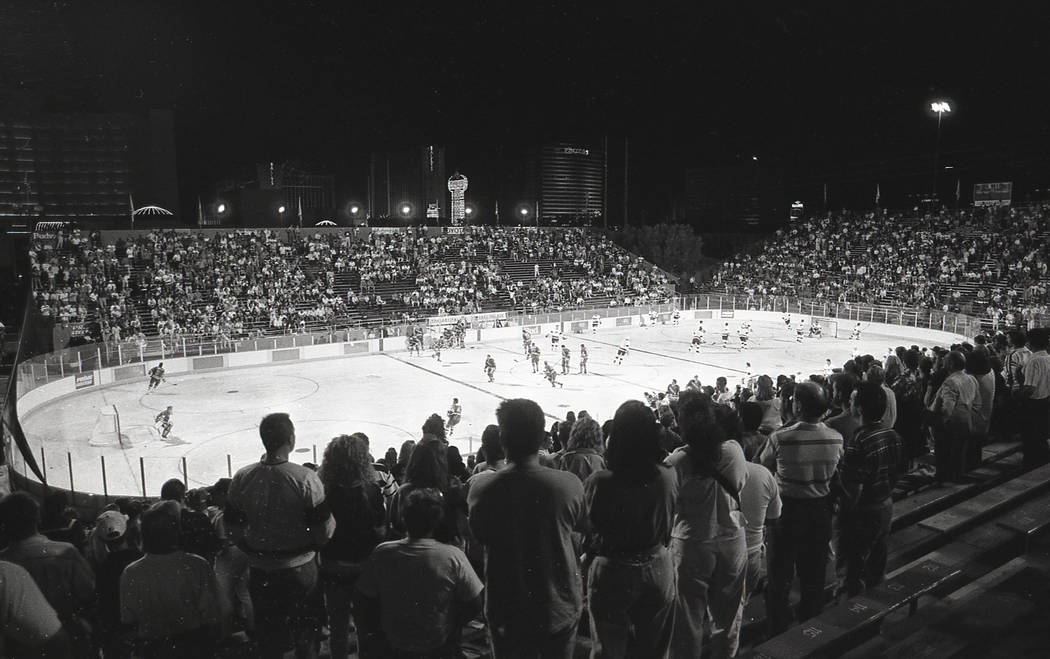 Scenes from an outdoor NHL exhibition game between the New York Rangers and the Los Angeles Kin ...