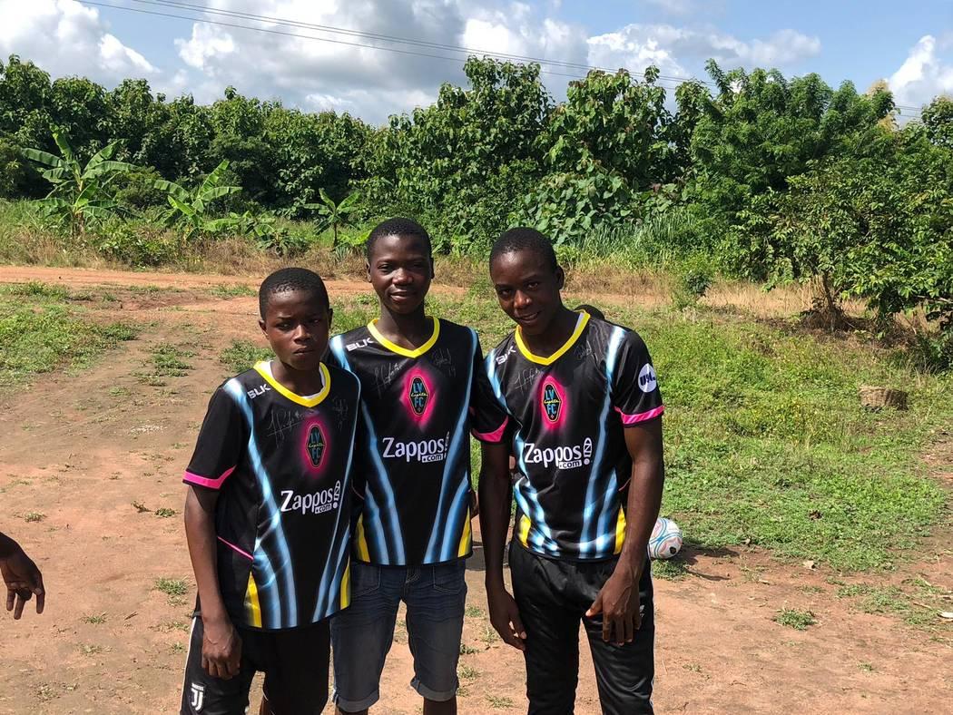 The trio of the Vima Orphanage in Tsibu-Bethel, Volta Region, Ghana sport Lights jerseys in Jun ...