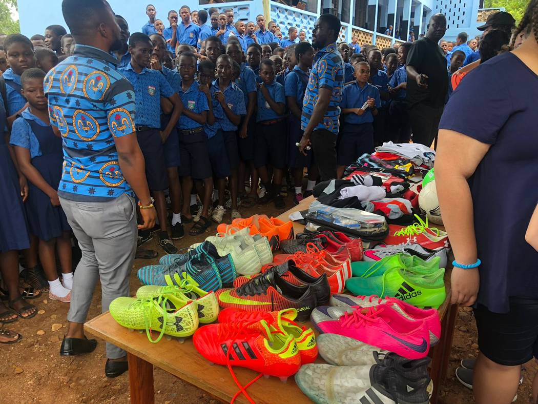 A stockpile of Lights player's shoes made their way to Kabore School in Ho, Volta Region, Ghana ...