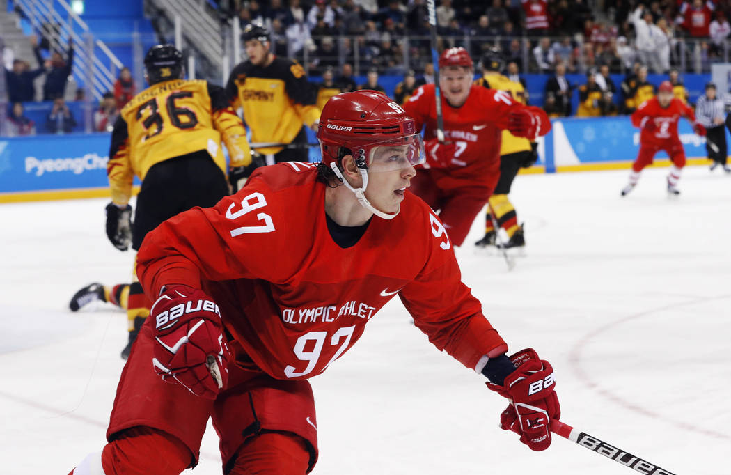 Russian athlete Nikita Gusev (97) reacts after scoring a goal during the third period of the me ...